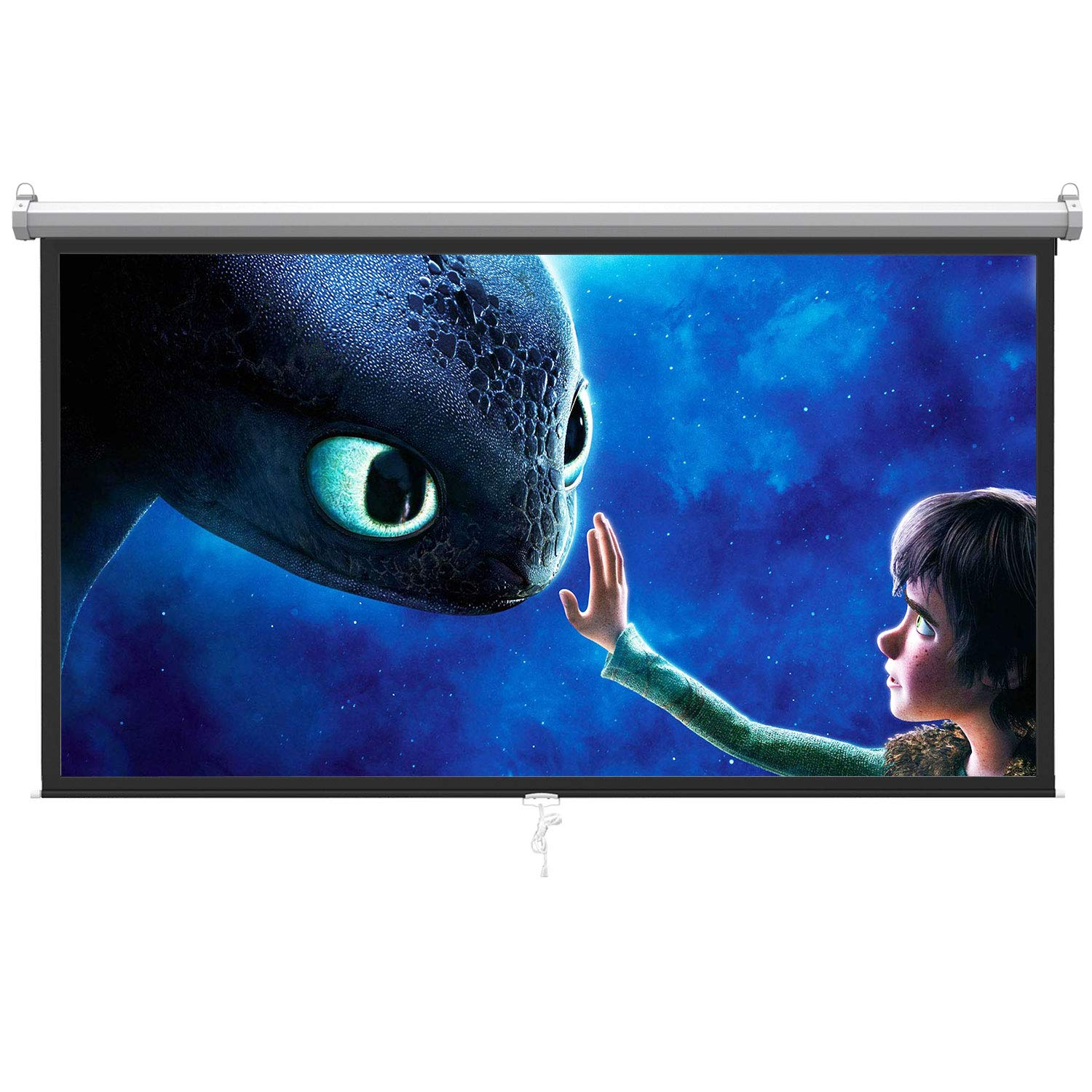120 inch Projector Screen PullDown Projector Screen Portable with 16:9 HD 4K Screen for School Home Theatre Cinema Foldable Projector Screen