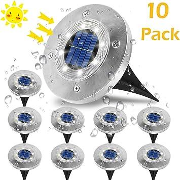 Luces Solares Jardin Exterior,VIFLYKOO Luz Focos led Exterior Solar Luz de Jardin IP65 impermeable Lámpara de exterior acero inoxidable para césped Camino Patio Jardín Lámpara -Blanco: Amazon.es: Bricolaje y herramientas