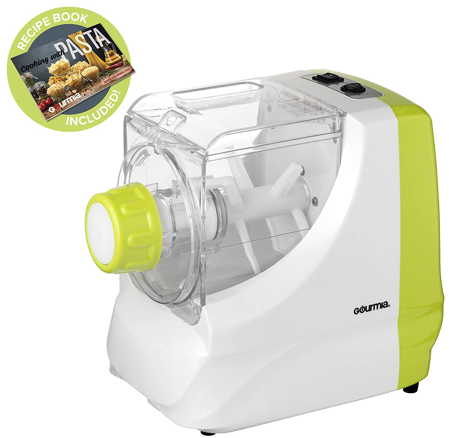 Gourmia GPM100 Electric PastaMazing Pasta Maker Includes 6 Discs and 2 Measuring Cups- Includes Free Recipe Book - 110V GPM-100