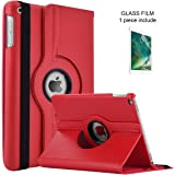 ElekFX 9.7 inch Case for iPad air 2 360° Rotating Lightweight Tablet Case for iPad 9.7 with Auto Wake/Sleep Case Impact Absorption PU Leather Cover, iPad 9.7 2018/2017 case with Protective Film - Red