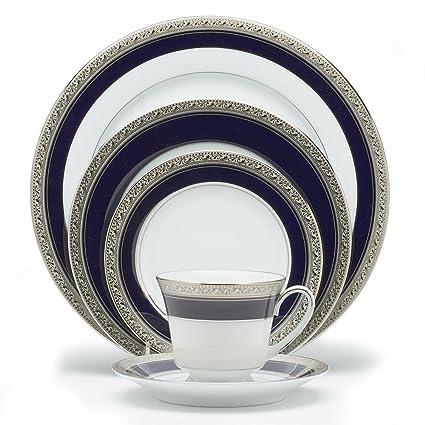 Amazon.com | Noritake Crestwood Cobalt Platinum 5-Piece Place ...