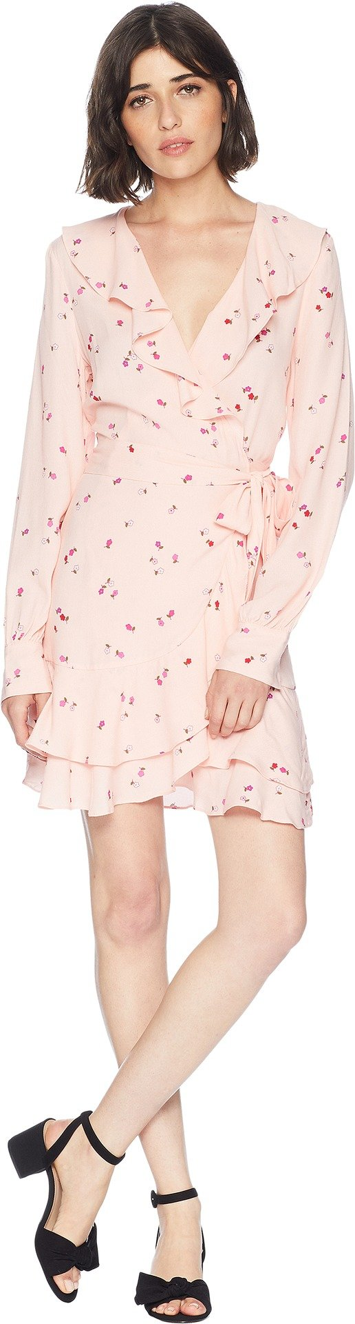 Juicy Couture Women's Rose Floral Flirty Wrap Dress Soft Glow Floral Riot Medium