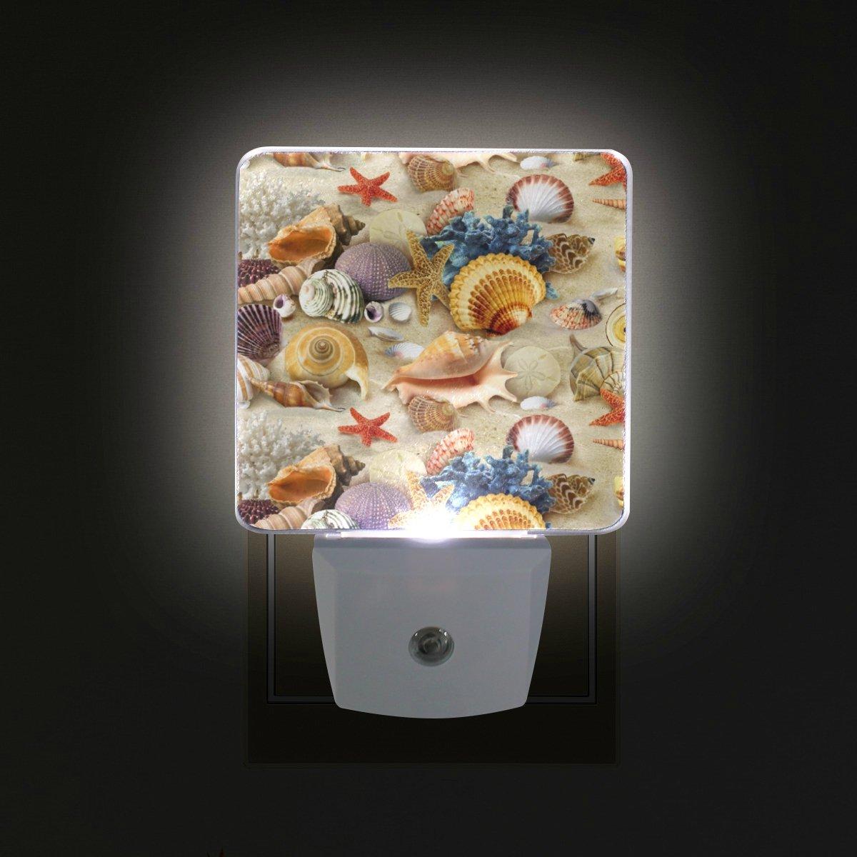 giovanior海スタイルサンドビーチヒトデ貝プラグin Dusk to DawnライトセンサーLEDナイトライトウォールライトの寝室、バスルーム、廊下、階段、エネルギー効率的な B079M3RDHX 15675