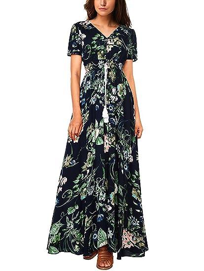 9ca1c01ef86 Gzbinz Women s Summer Beach Button up Split Long Floral Casual Vintage Maxi  Dress at Amazon Women s Clothing store