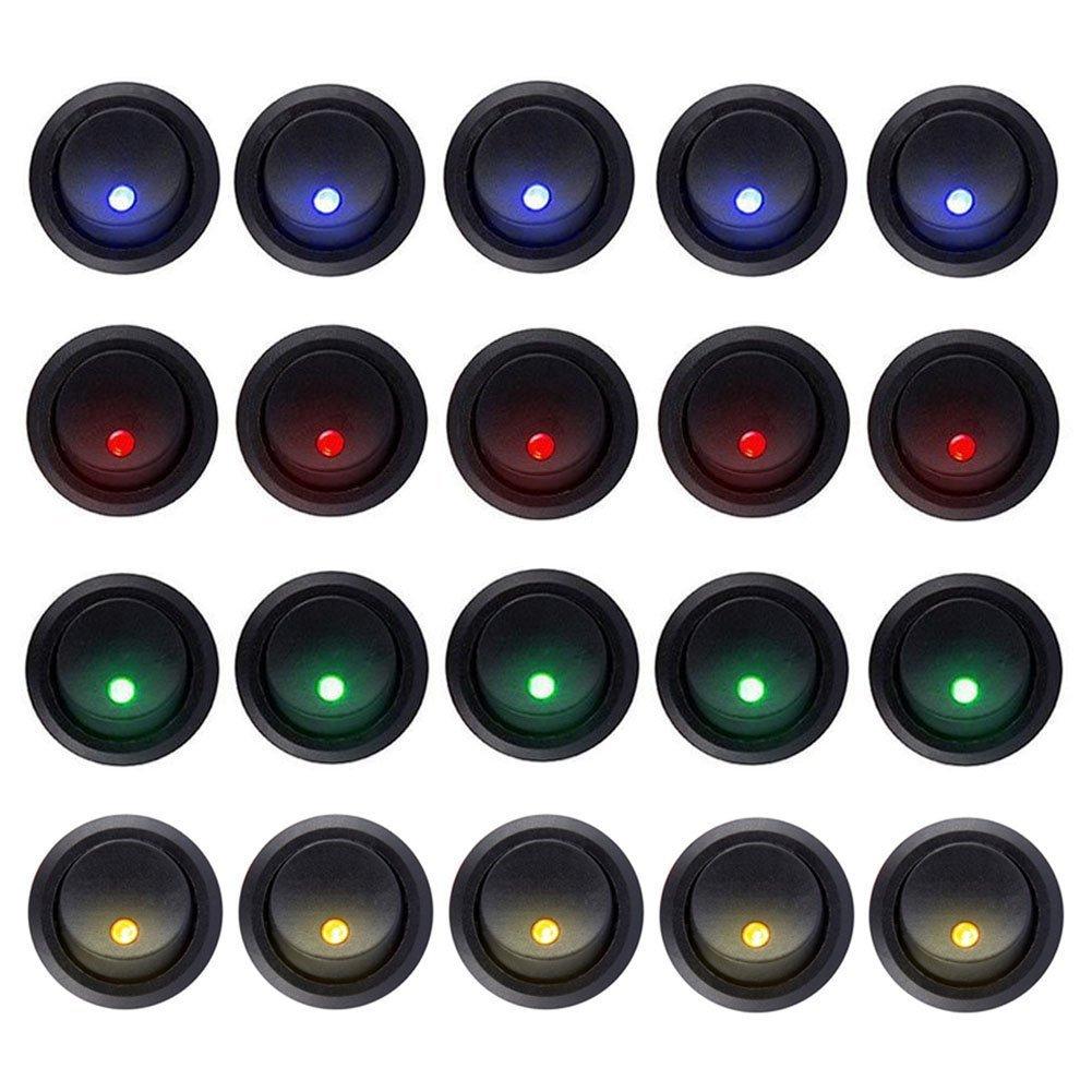 Carviya 20pcs 5blue + 5red + 5green + 5orange Rocker Dot lumière LED ronde Interrupteur à bascule Spst contrôle on/off pour voiture, camion, voitures de course, RV pour femme, Marine, Heavy Duty Trucks, Off Road Véhicules,