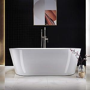 "WOODBRIDGE white Acrylic Freestanding Bathtub Contemporary Soaking Tub Overflow and Drain, 67"" B-0013 Brushed Nickel"