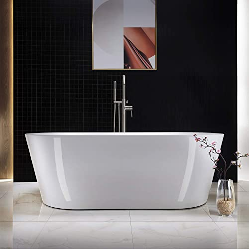 WOODBRIDGE white Acrylic Freestanding Bathtub Contemporary Soaking Tub Overflow and Drain, 67 B-0013 Brushed Nickel