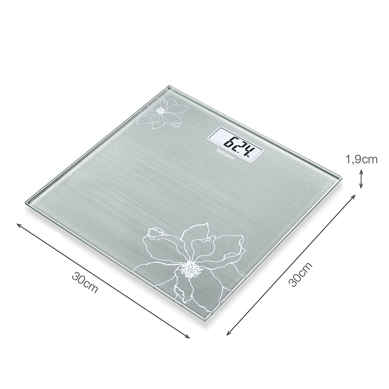 Beurer GS 10 - Báscula de baño de vidrio, báscula extra plana de 1.9 cm, pantalla digital LCD con grandes dígitos (2.6 cm), color grisáceo con detalle ...