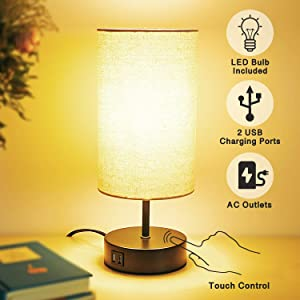 Touch Control Table Lamp with 2 USB Charging Ports,AC Outlet,60W LED Bulb Included,Fabric Lampshade,3-Way Dimmable Modern Nightstand Lamp Bedside Lamp for Bedroom Living Room Office
