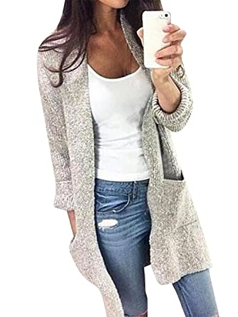 Famulily Women's Long Sleeve Knit Open Front Grey Cardigan Sweater ...