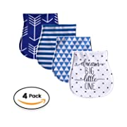 "Baby Burp Cloths 4 pack, 100% Organic Cotton | Large, Triple Layer, Ultra Absorbent & Soft |Burping Rag for Newborn, Gender Neutral |Baby Shower Set for Boys & Girls "" Dream Big Set"" By Chunky Chops"