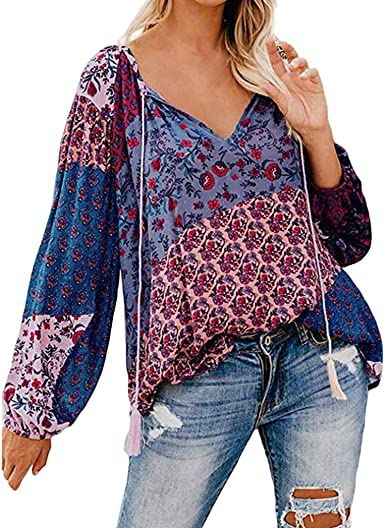 Blusas para Mujer Camisa Estampada De Doblar Y CordóN Flojo Vendimia Camisas De Manga Larga con Cuello En V Y Estampado Floral para Mujer Blusas Sueltas Ocasionales OtoñO Casual Tops: Amazon.es: Ropa