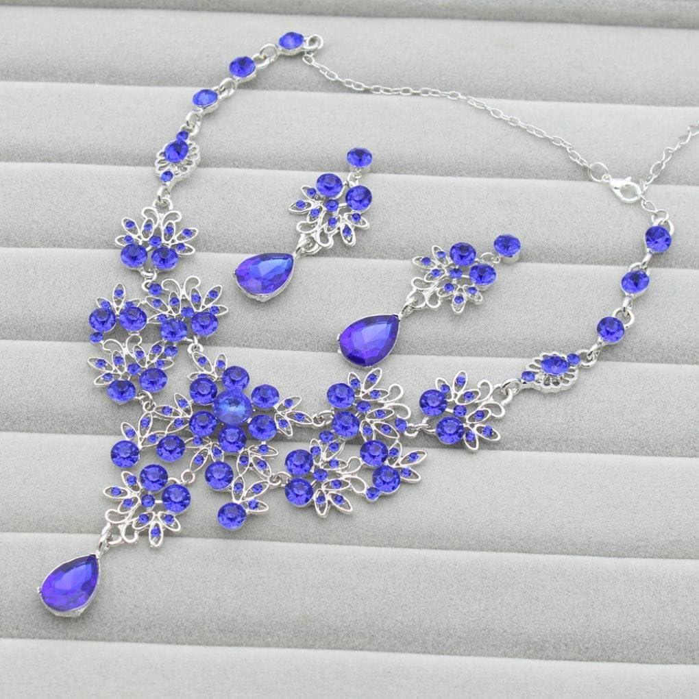 violet - Pour femme Necklace Length: Approx 53cm//20.87Adjustable Parure de bijoux tendance Xshuai avec collier et boucles d/'oreilles en strass pour mariage bal de fin dann/ée etc
