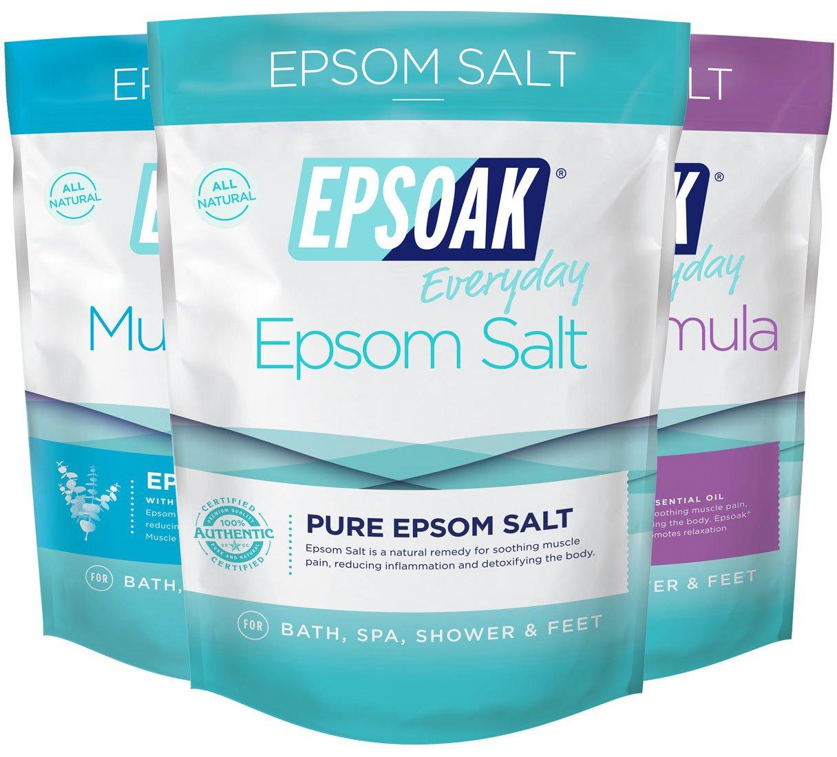 Ultimate Epsoak Epsom Salt Bath Soak Bundle (6lbs) – 3 pack of Sleep Formula Bath Salt, Muscle Soak Bath Salt, Original Unscented Epsom Salts San Francisco Salt Company
