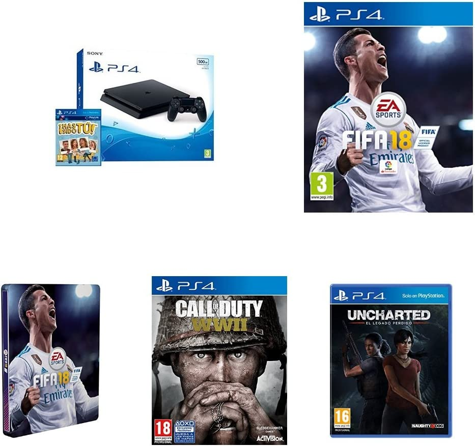PlayStation 4 (PS4) - Consola De 500 GB, Color Negro + Voucher ¡Has Sido Tú! + FIFA 18 - Edición estándar + Steelbook FIFA 18 + Call Of Duty WWII + Uncharted: El Legado Perdido: Amazon.es: Videojuegos