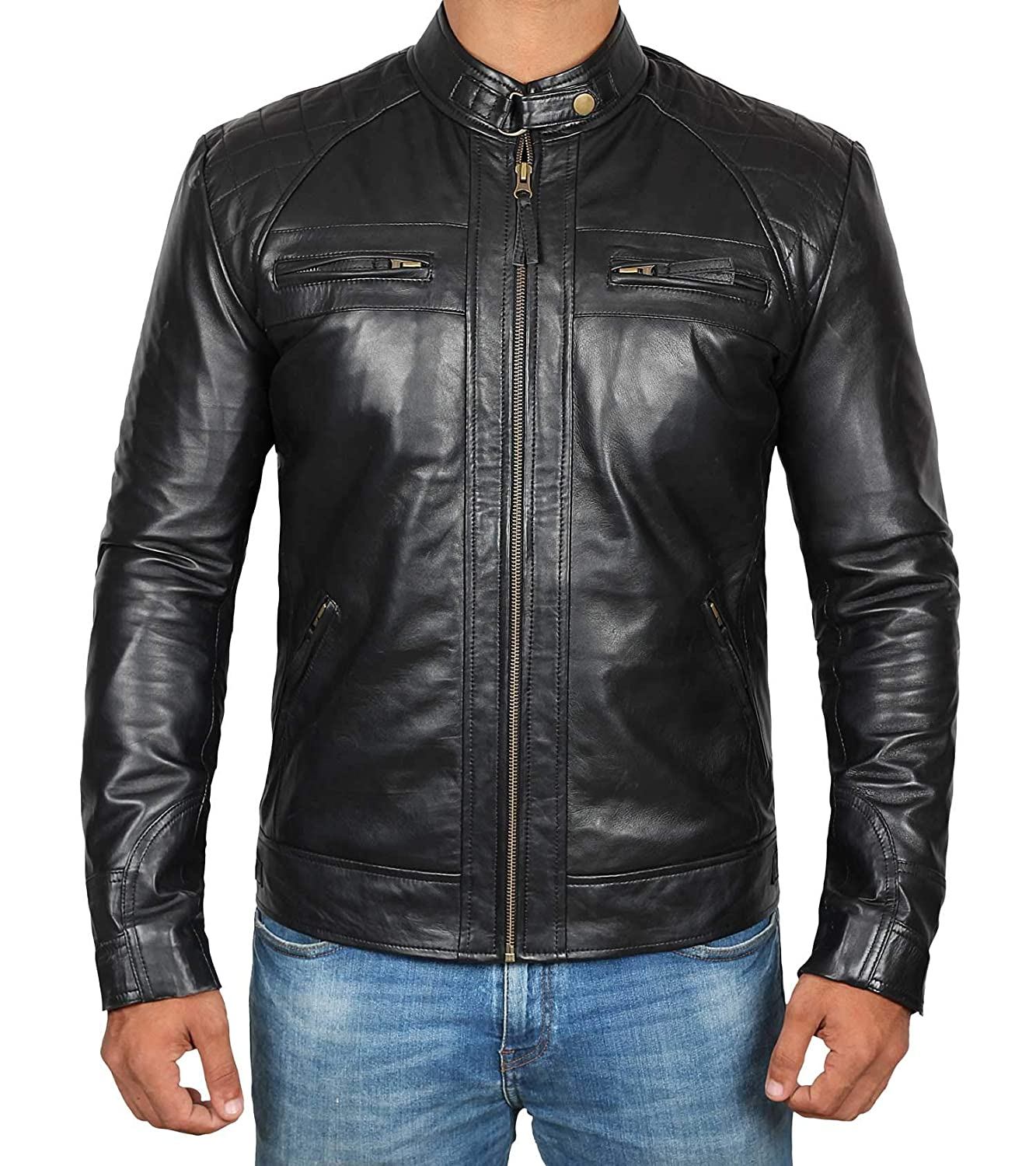 53c4d2db55d Brown Leather Jacket Men - Biker Style Distressed Lambskin Black Motorcycle Mens  Leather Jackets at Amazon Men s Clothing store