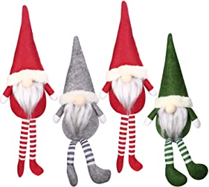 Tomte gnomes, Stuffed Gnomes Elf Decorations Set Pack of 4 Colorful Scandinavian Gnomes Adorable Holidays Home Decorations Gray, Green, and Red Troll Ornament (4 Pack)