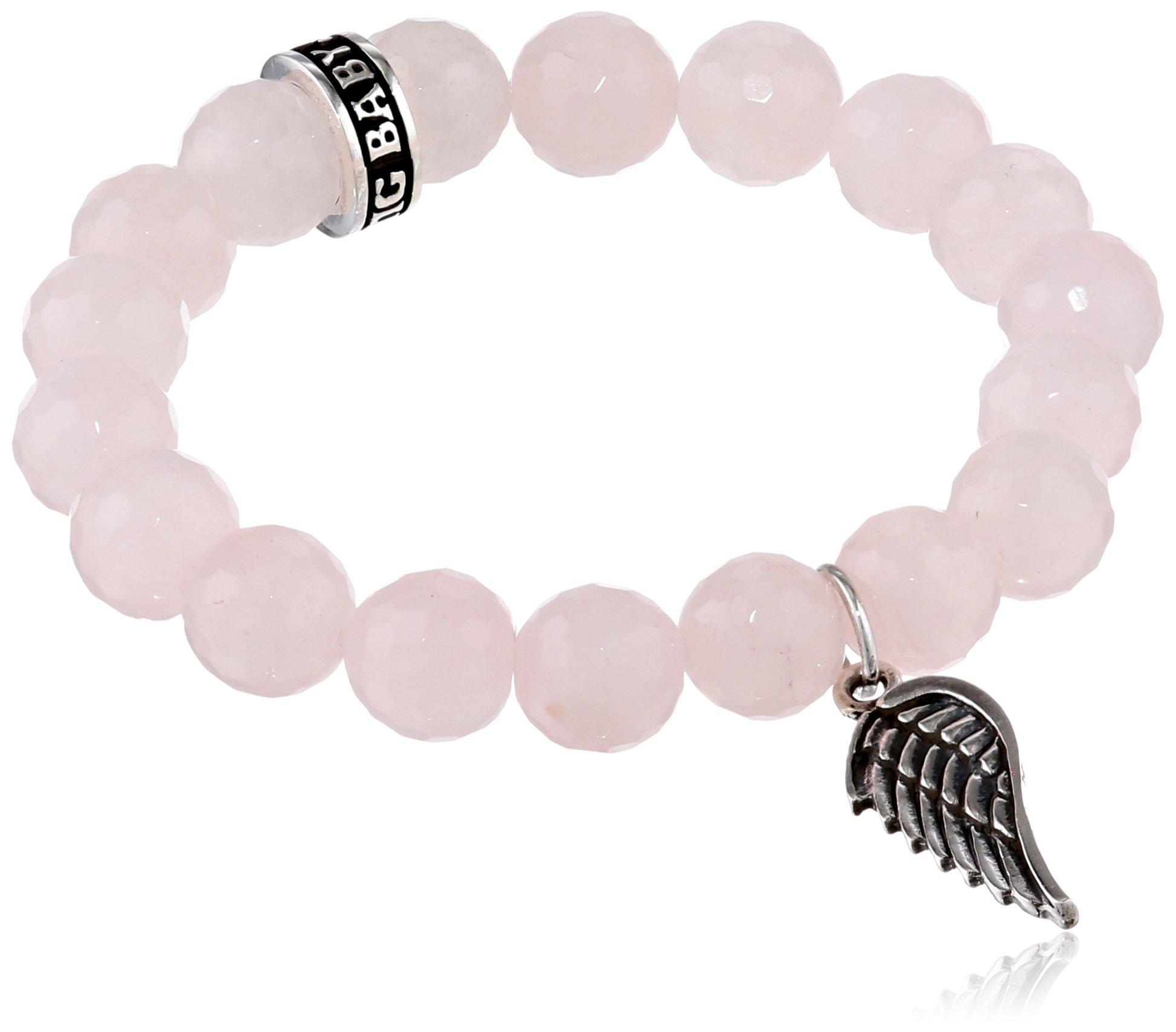 King Baby Rose Quartz with Silver Ring Bracelet