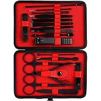 Set de manicura, Kit de manicura 18 piezas Professsional, uñas de acero inoxidable, herramienta de corrección de pedicura para uñas, con estuche de viaje de cuero negro