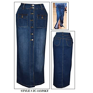 Jeans Colony Women's Casual Knee Length Jean Denim Skirt at Amazon ...
