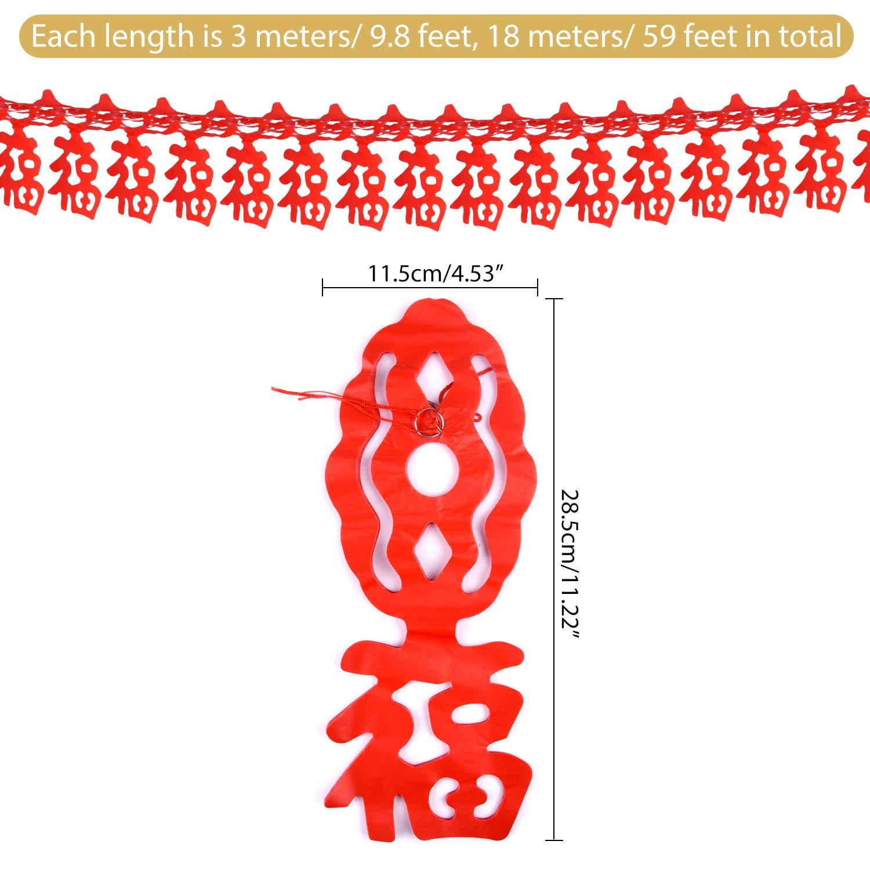 FEPITO 18M//59Ft Capodanno Cinese Fu Ghirlande Buona Fortuna Bandiera e 10Pcs Rosse Lanterne per Il Capodanno Cinese Festival di Primavera,Matrimonio e Ristorante Decorazioni
