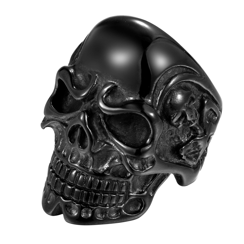 Oidea Anello Uomo acciaio inossidabile Fidanzamento Cranio stile Punk Rock nero, misura da scelta