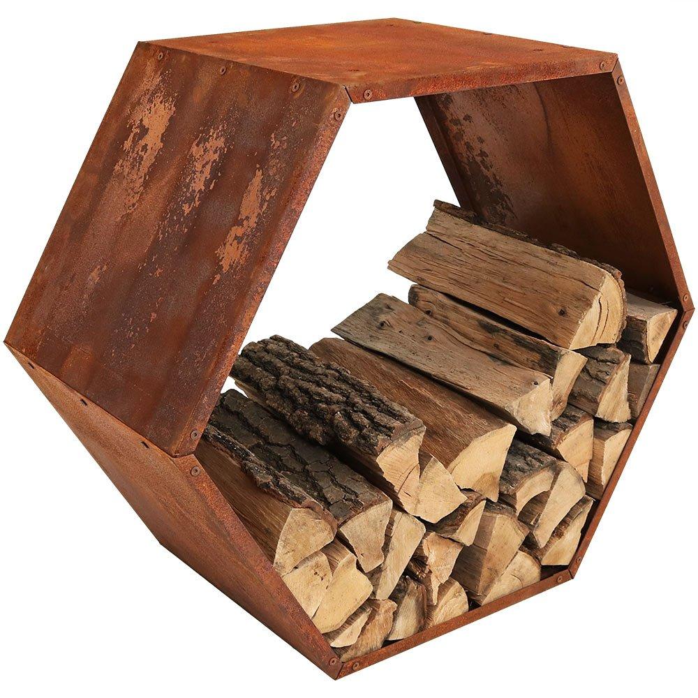 Sunnydaze Heavy-Duty 30-Inch Hexagon Rustic Honeycomb Firewood Log Rack