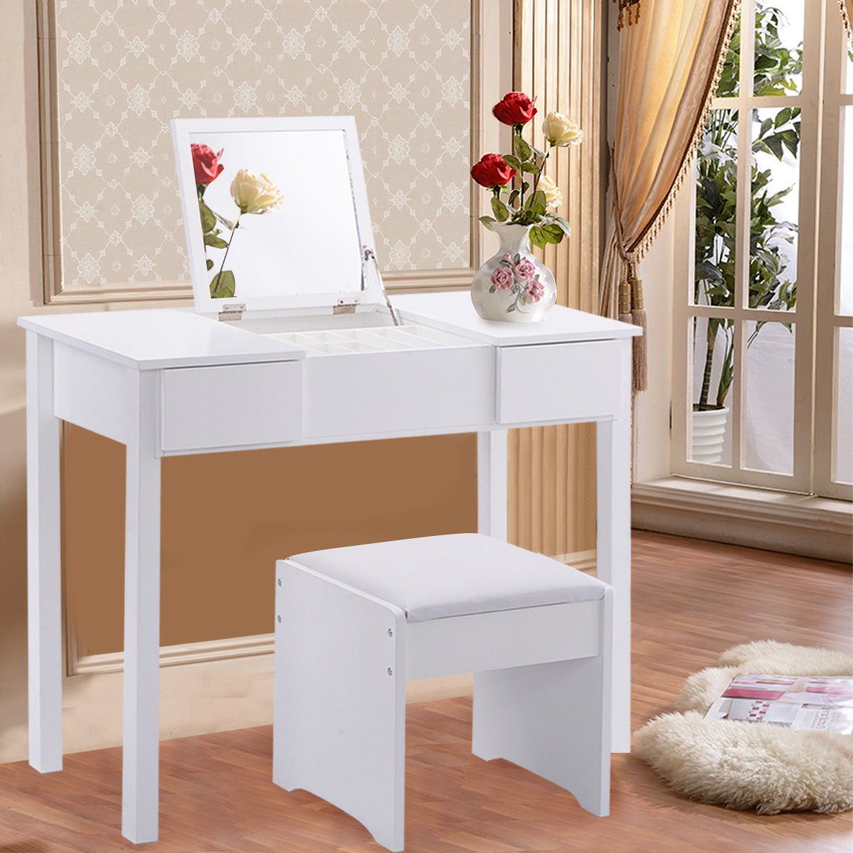 Amazon.com: NEW White Vanity Dressing Table Set Mirrored Bedroom Furniture  W/Stool U0026Storage Box Solid And MDF Panel.: Kitchen U0026 Dining