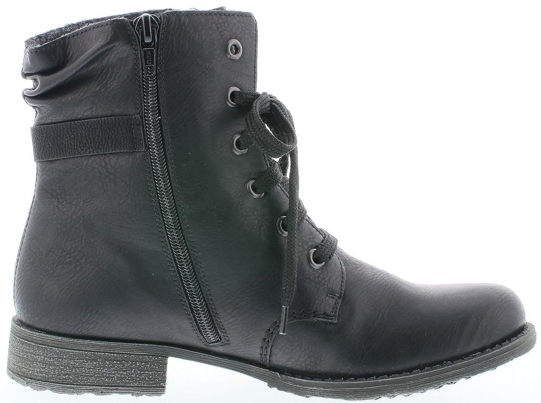 Rieker 70847 Damen Stiefel, Stiefelette, Schnürstiefel, Boot, Schnürboot, Silberne Zierspange