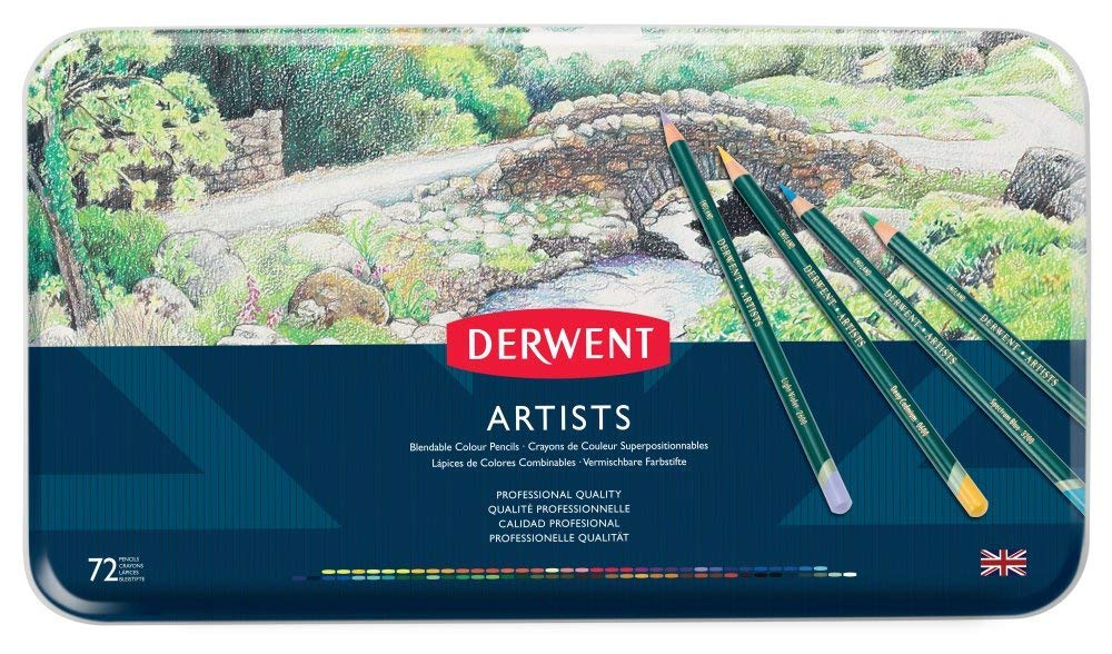 Derwent Artists Colored Pencils, 4mm Core, Metal Tin, 72 Count (32097) by Derwent (Image #1)