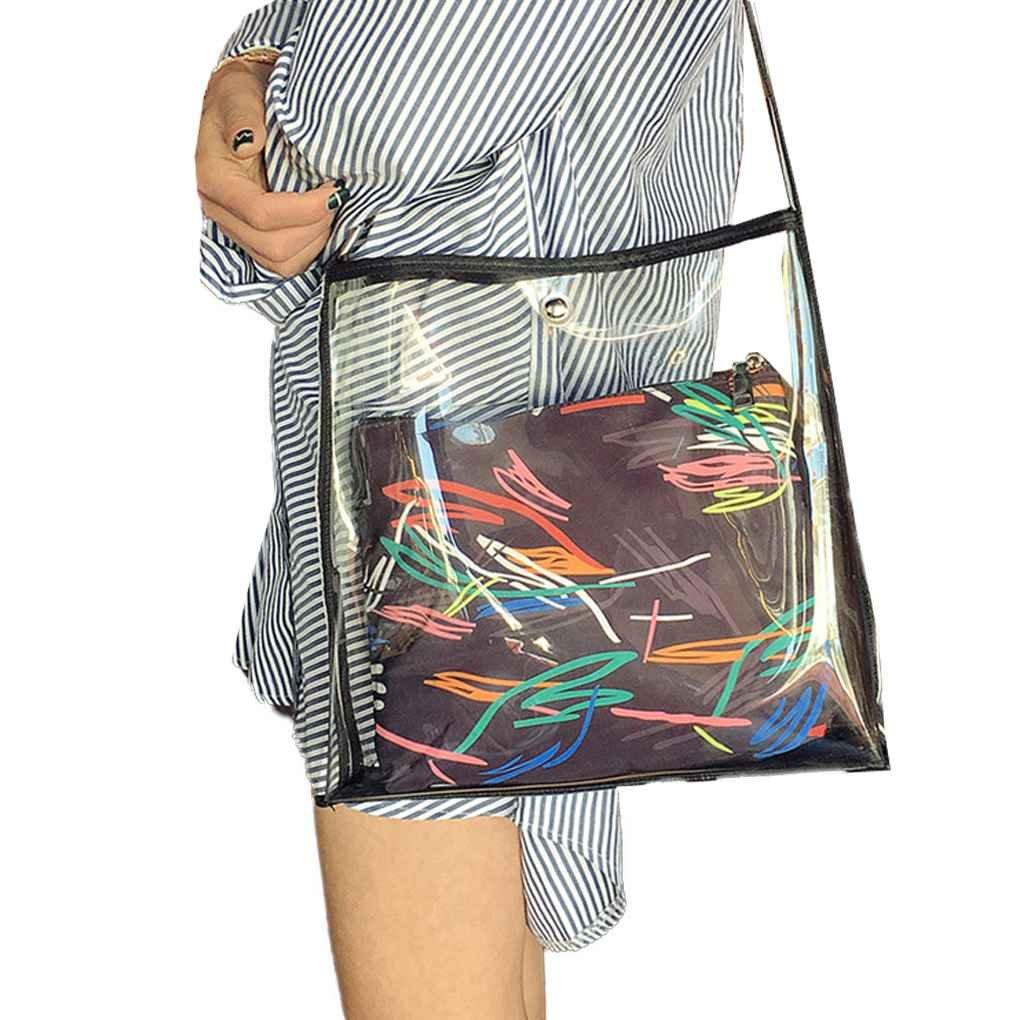 Korowaツヴァイbeutel-satz-frauen-mädchen Transparente Schultertasche Handtasche Knopfverschluss PU Umhängetascheメッセンジャーバッグ1 # 30 x 30 x 30 x 8 cm、120 cm (肩ストラップ)   B07BS94H7V