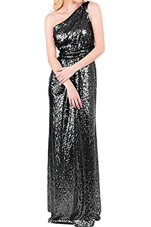 Sunvary Fashion One-Shoulder Sheath Long Evening Prom Dresses Sequins Cheap Size 2- Black