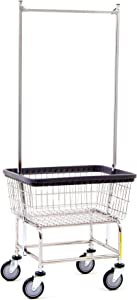 R&B Wire 100D58 Narrow Wire Frame Metal Laundry Cart with Double Pole Rack