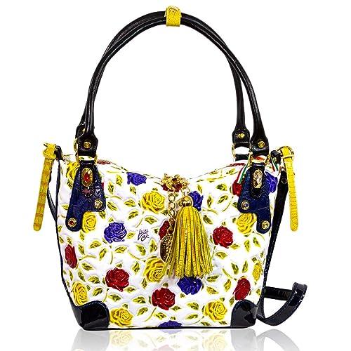 Marino Orlandi Bolso bandolera italiano de cuero con diseño de rosas amarillas pintado a mano: Amazon.es: Zapatos y complementos