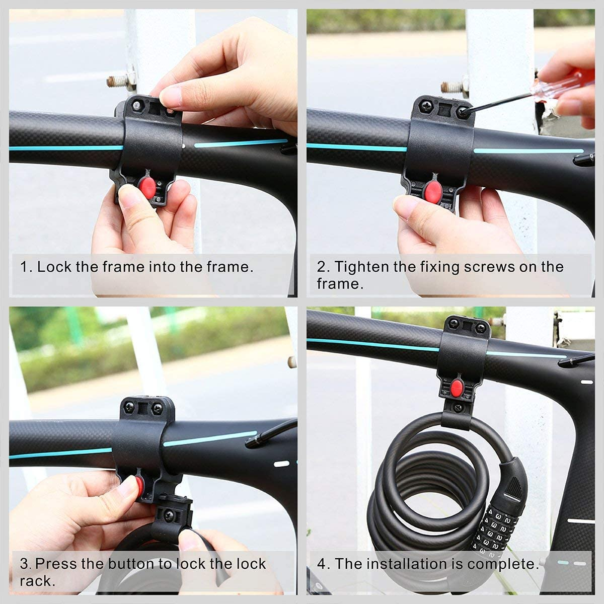 Blusmart Bike Lock 5-Digit Resettable Number 180cm//12mm Heavy Duty Chain Lock