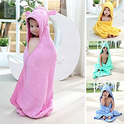 Baby Hooded Towel with Bear Ear Soft and Thick 100% Cotton Bath Set for Girls, Boys