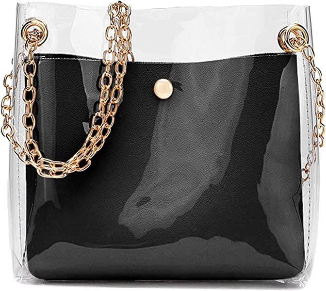 2018 Fashion Women Brand Mini Small Shoulder Bag Clear Transparent  Drawstring Girls Cute Composite Bag Female Handbags 2 Pcs New d0256ad614420