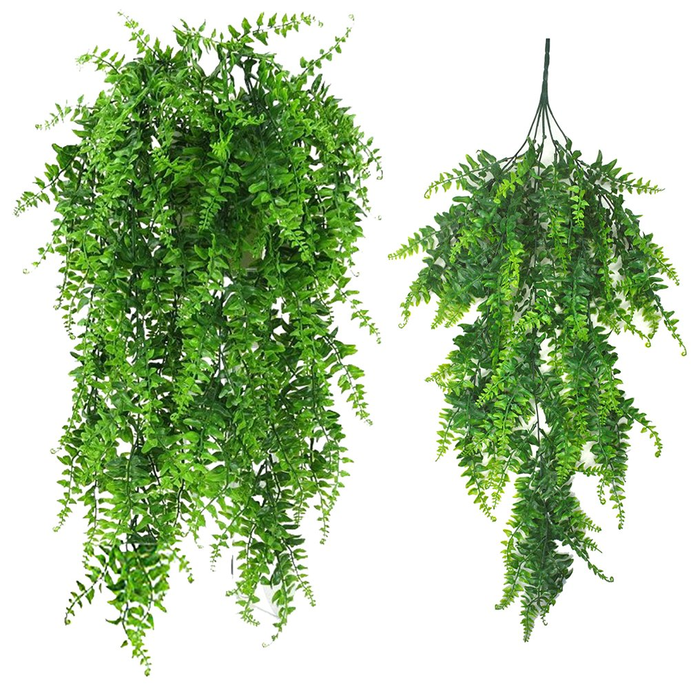 Artificial Plants Greenery Boston Fern Persian Rattan Fake Hanging Plant Ivy Vine Outdoor UV Resistant Plastic Plants Vines for Safari Jungle Party Decorations Supplies 2 Pcs