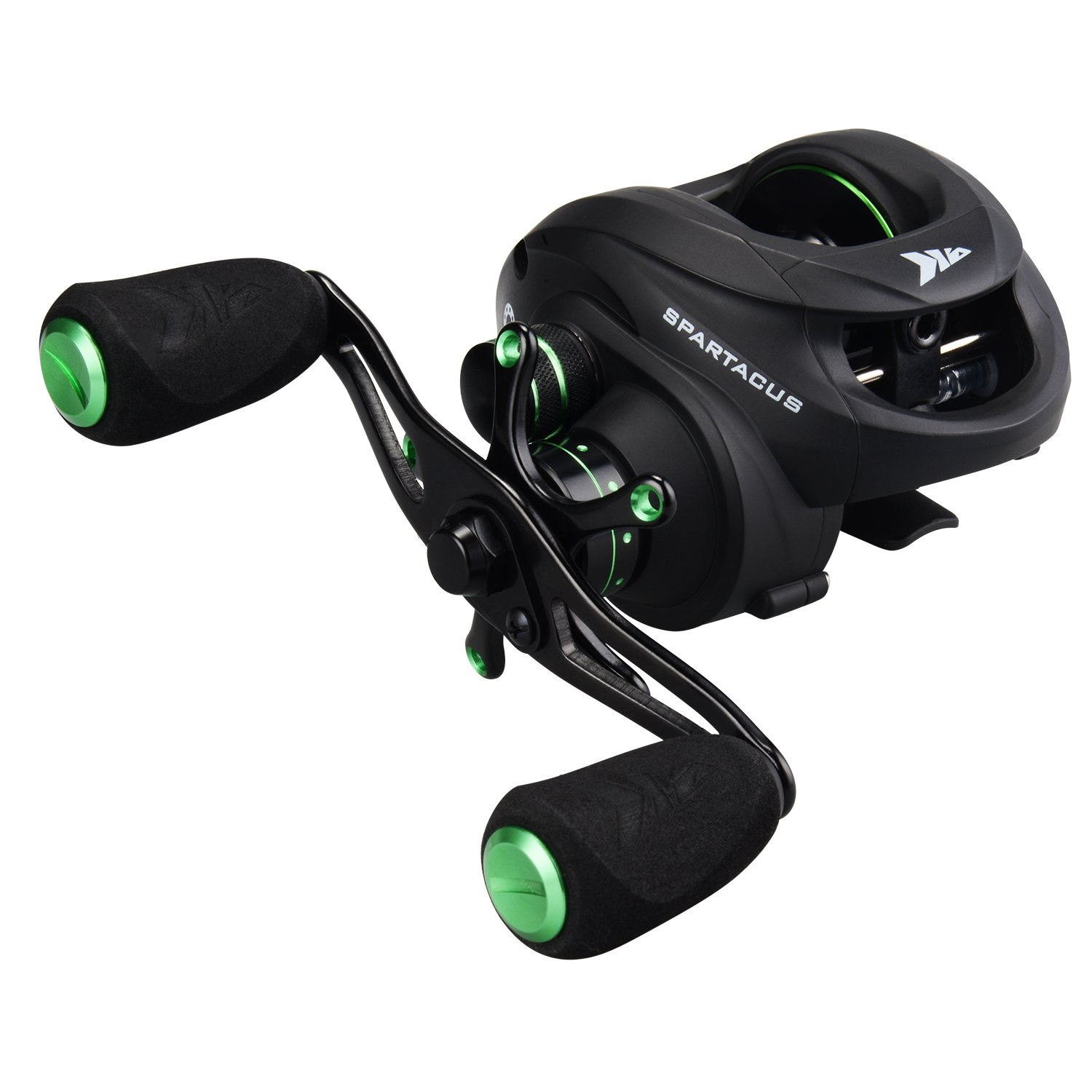 KastKing Spartacus Baitcasting Fishing Reel Ultra Smooth 17.5 LB Carbon Fiber Drag, 6.3:1 Gear Ratio,11 + 1 Shielded Ball Bearings, Rubber Cork Handle Knobs (D:Chartreuse Green: Right Handed Reel)