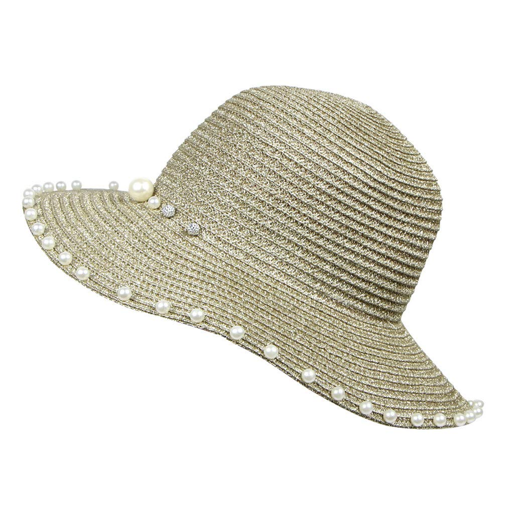 Womens Faux Pearl Beading Hats,Suma-ma Girls Summer Foldable Straw Beach Hat Wide Brim Boho Sunhat Camping Caps
