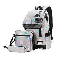 wewo Rucksack Schule Nylon Schulrucksack Mädchen Schultache Printing Laptop Backpack Groß Kapazität Damen Daypacks mit USB-Anschluss