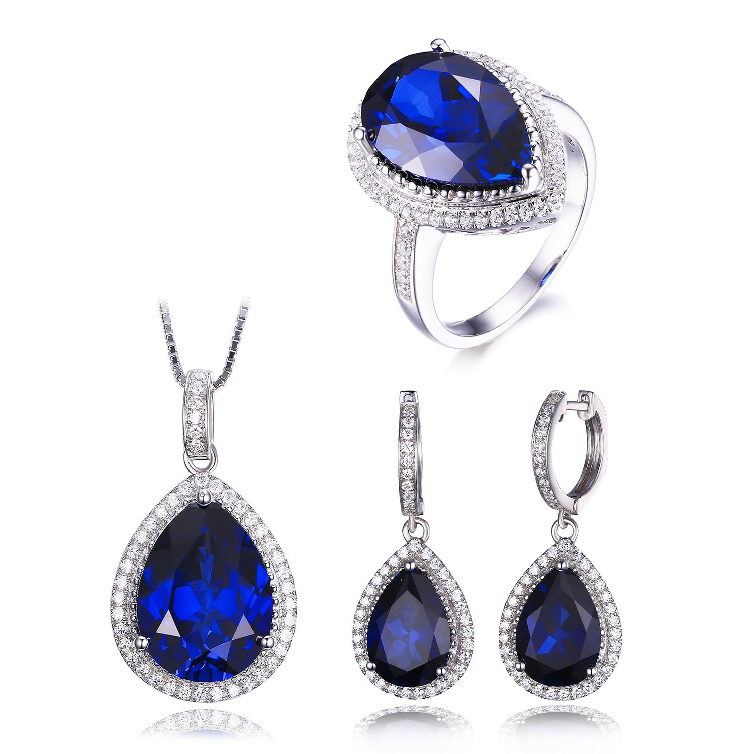JewelryPalace Women's Luxury Pear Cut Created Blue Sapphire Engagement Ring Pendant Dangle Earrings Solid 925 Sterling Silver Size 7