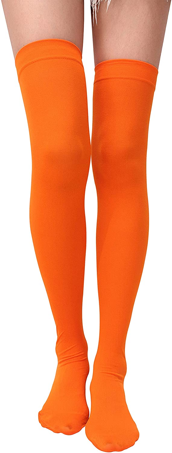 Orange Socks Over Knee Thigh High Opaque Stockings Halloween Party Costume Cosplay Knee-High Socks For Women: Clothing