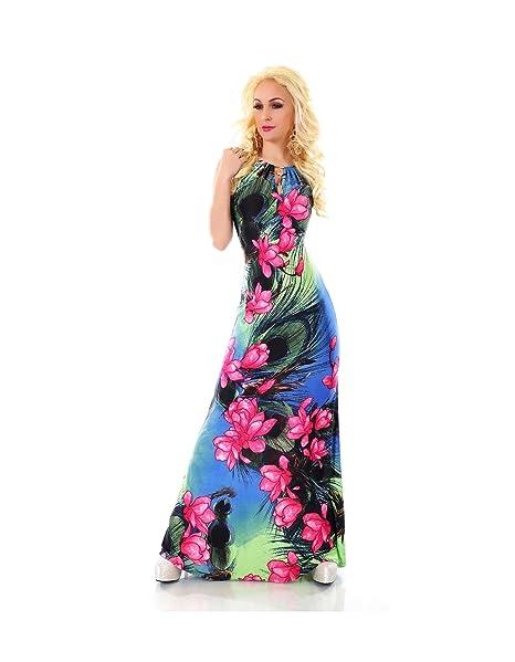 db9a187e32ad Blanco Store - Vestito Lungo Donna Abito A Fiori Elegante Cerimonia Inserti  Color Oro (M