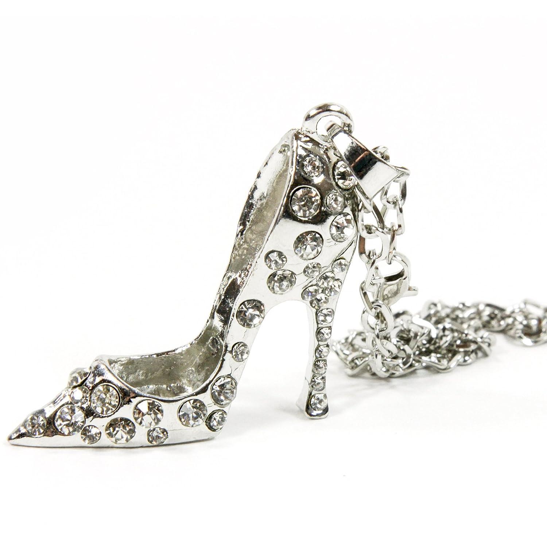 6773a377880 Red Hound Auto Silver Bling High Heel Shoe Mirror Car Charm Hanger Ornament  Clear Rhinestones w/Chain