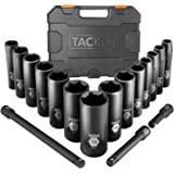 TACKLIFE Impact Socket Set 1/2-inch Drive SAE, 17pcs Drive Deep Impact Socket Set, 6 Point, 3/8-1-1/4 inch, 14pcs Inch…