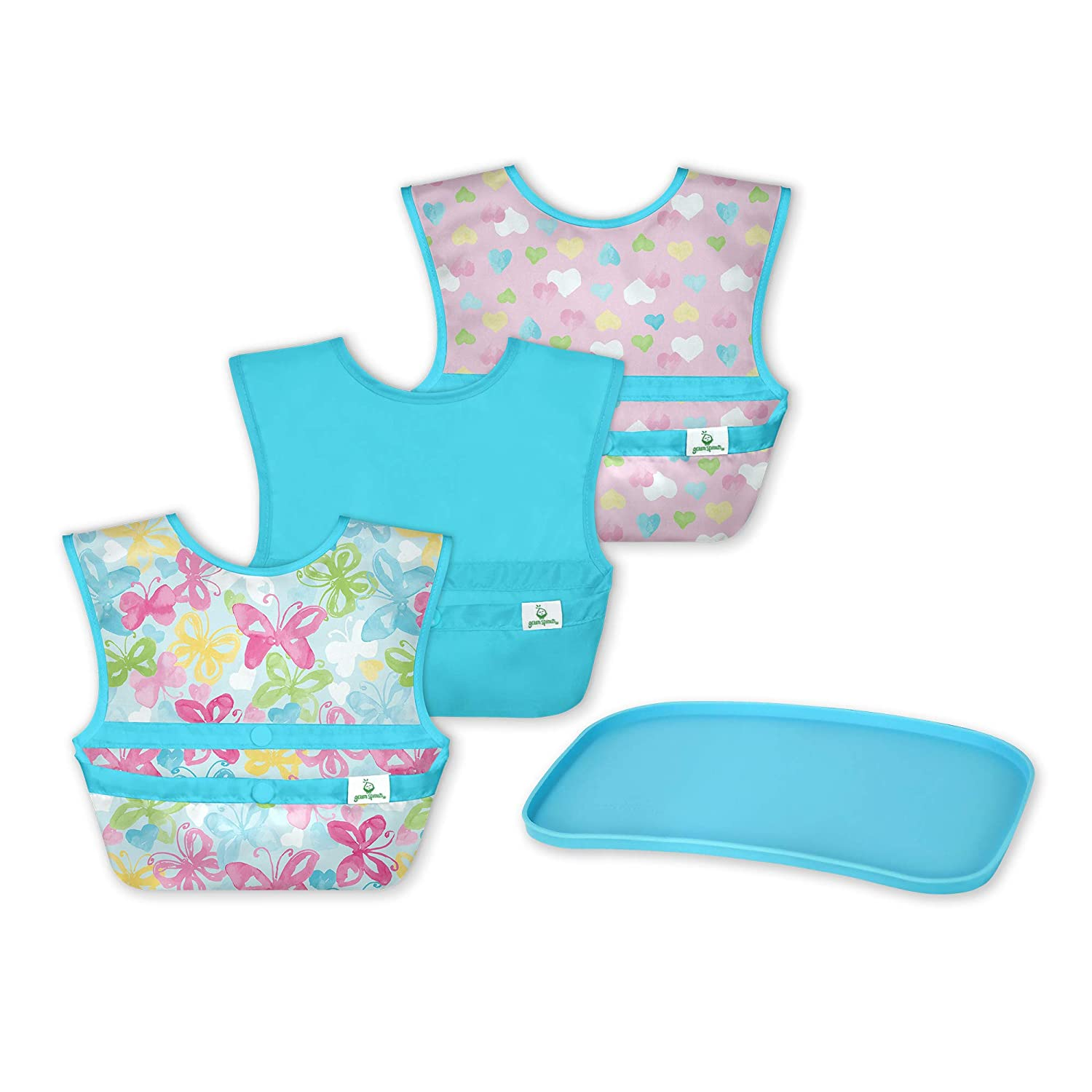 green sprouts Mealtime Finger Food First Foods Gift Set | Baby and Toddler Feeding Set | Roll up The Messy bib, snap, and go | Platemat Made from Silicone | Easy to Clean