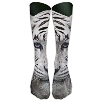 Yuerb Calcetines Altos Womens Dress Colorful White Tiger Animal Over The Calf Tube High Knee Sock
