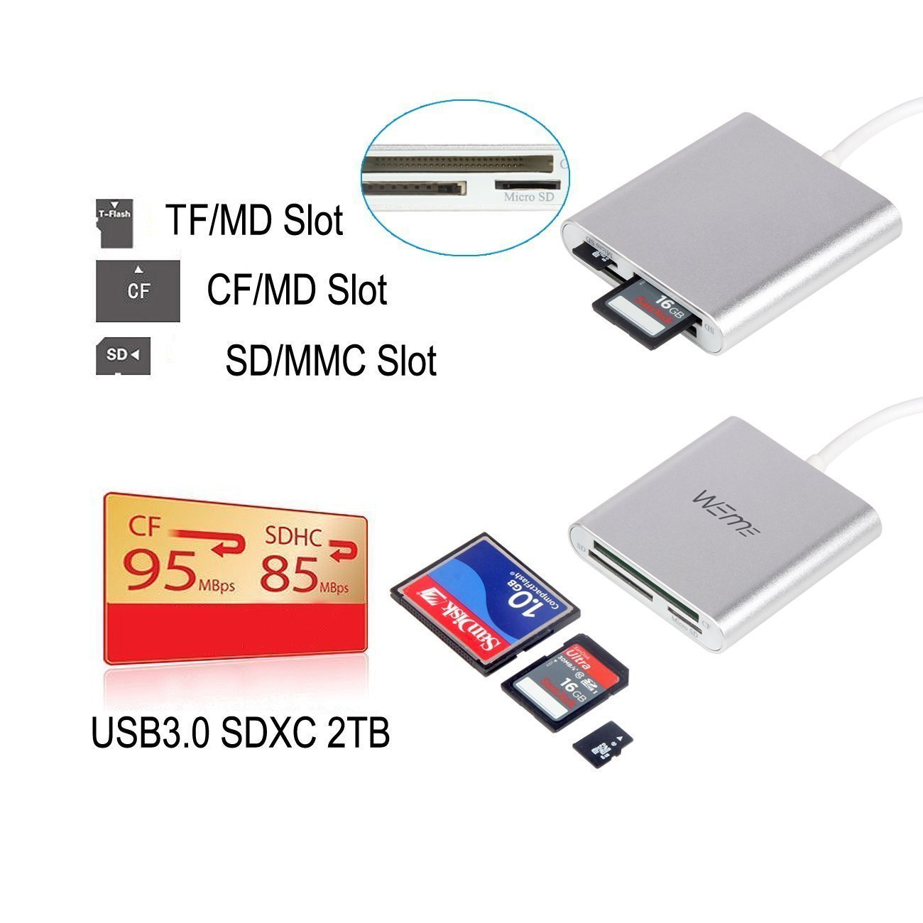 Compact Flash CF Card Reader, WEme Aluminum Multi-in-1 USB 3.0 Micro SD Card Reader with 2-in-1 Type C Adapter for PC, Mac, Macbook Mini, USB C Devices, Support Sandisk/ Lexar UHS, SDHC Memory Card by WEme (Image #7)
