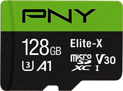 PNY Elite-X Micro SD 128GB, U3, V30, A1, Class 10, up to 100MB/s – P-SDU128U3WX-GE